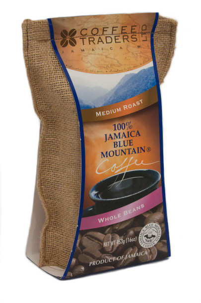100% Jamaican Blue Mountain Coffee, Certified, Medium Roasted, Beans - 16 oz