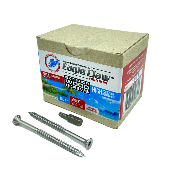 Eagle Claw Tools and Fasteners 10 x 3 Inch Stainless Steel Deck Screws 100 Box T25 Star Drive Included