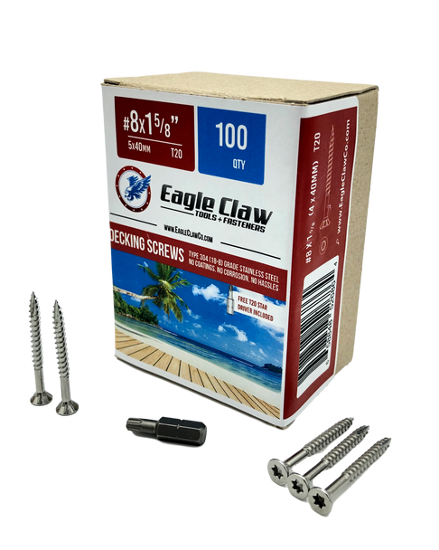 Eagle Claw Tools and Fasteners 8 x 1 5/8 Inch Stainless Steel Deck Screws 100 Box T20 Star Drive Included