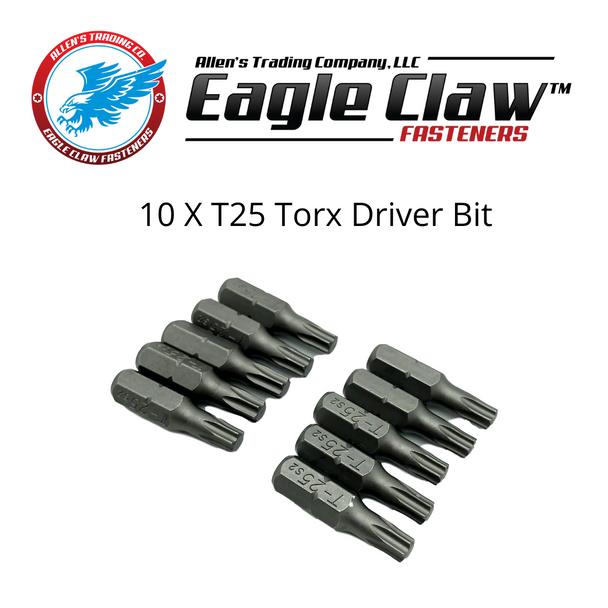 "10 Pack of T25 Torx Driver Bit, 1"" long, 1/4"" hex drive."