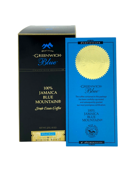 Greenwich Blue Rare Single Origin 100 Percent Jamaica Blue Mountain Coffee with Certificate of Authenticity 8 Ounce Whole Beans