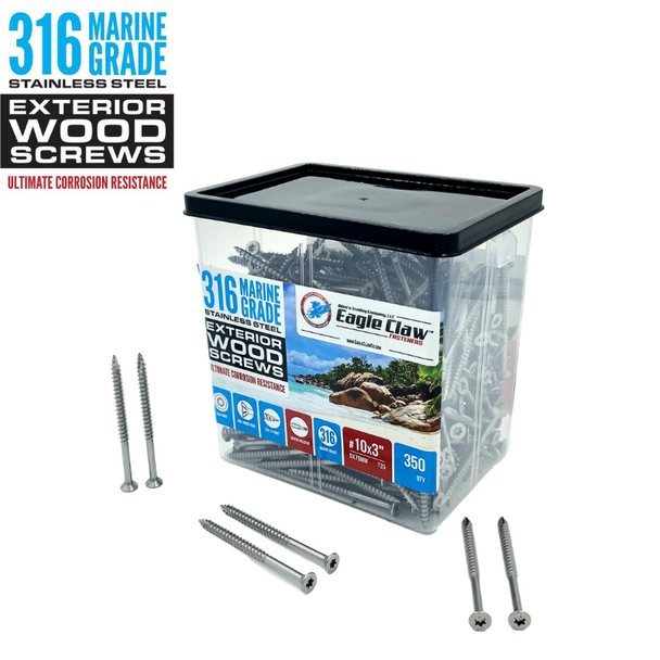 316 Grade Marine Stainless Steel Exterior Wood Screws QTY 350