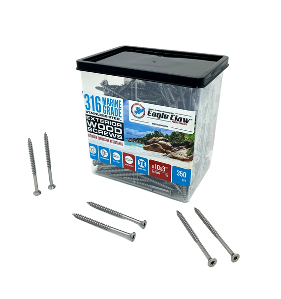 #10 x 3 Inch 316 Marine Grade Stainless Steel Wood Screws 350 Pack T25 Star Drive Type 17 Point for Docks, Decks, Jetties, Fences or Any Coastal Marine Construction