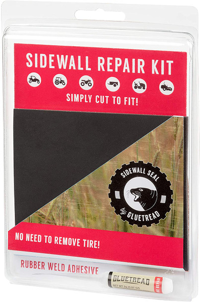 """GlueTread Sidewall Repair Kit - Patch Sidewall of Your Tire - Kit Includes (1) 4""""x4.5""""x3/16 Patch, (4) Pieces of Sandpaper, Adhesive & Instructions"""