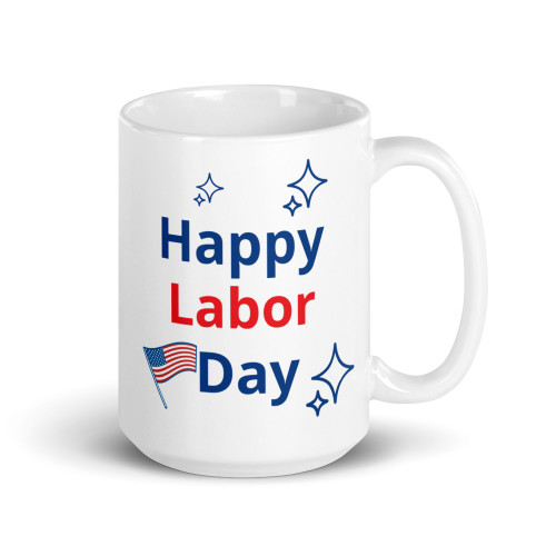 Right side of all white coffee mug with Happy Labor written on it.