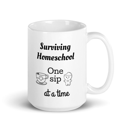 Right side of all white coffee mug with surviving home school one melt down at a time on it.