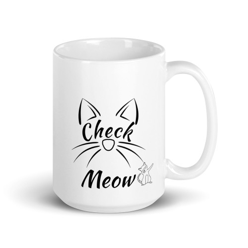 Right side of all white coffee mug with check meow on it.