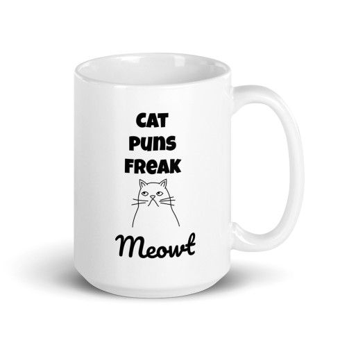 Right side of all white coffee mug with cat puns freak meowt on it.