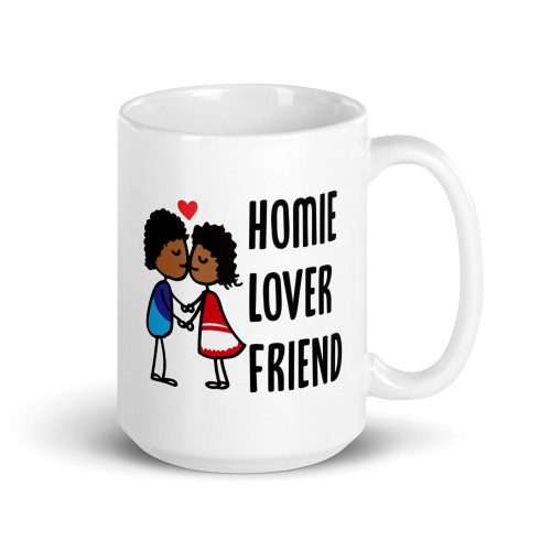 Homie, Lover, Friend, Kissing Couple Mug