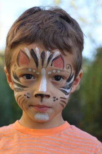 Natural Face Painting - Step by Step Demo - Cool Cat