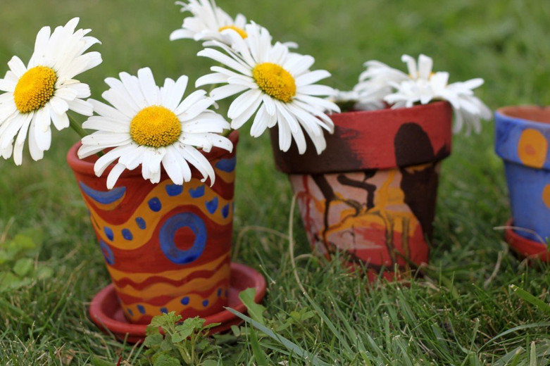 Recycled Earth Art Flower Pots