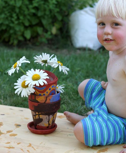 Recycled Earth Art Flower Pots with Natural Earth Paint