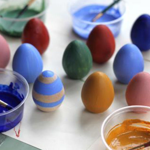 DIY Natural Wooden Eggs with Natural Earth Paint