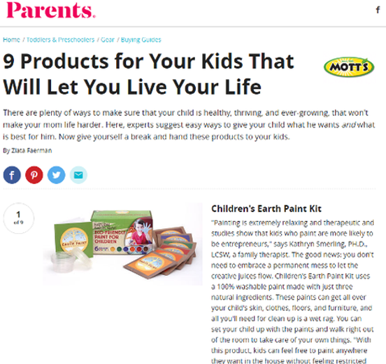 Children's Earth Paint Kit Mentioned in Parents Magazine Online May
