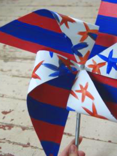 Fourth of July Pinwheel with Natural Earth Paint