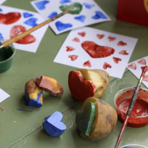 Potato Stamp Valentines with Natural Earth Paint