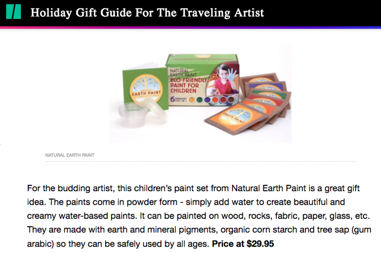 Featured in the Huffington Post: The Holiday Gift Guide for the Traveling Artist