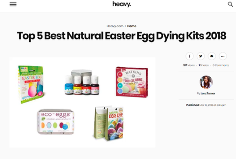 Natural Egg Dye Kit Listed as One of the Top Natural Dye Kits of 2018!