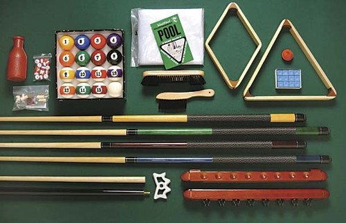 STANDARD ACCESSORY KIT Includes are 4 pool cues, two-piece hardwood bridge, 8 and 9 pool ball racks
