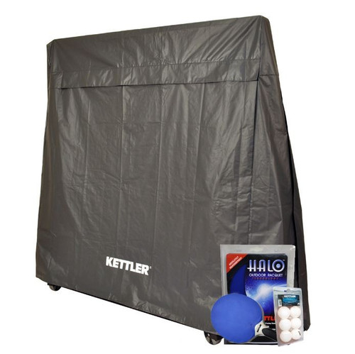 Kettler 4-Player Outdoor Ping Pong Bundle - cover & paddle