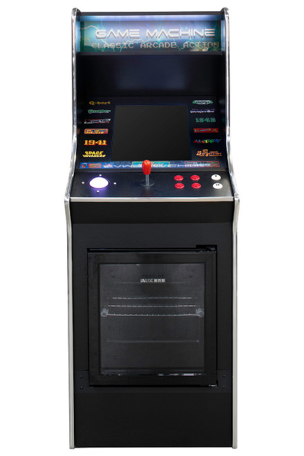 upright arcade with fridge