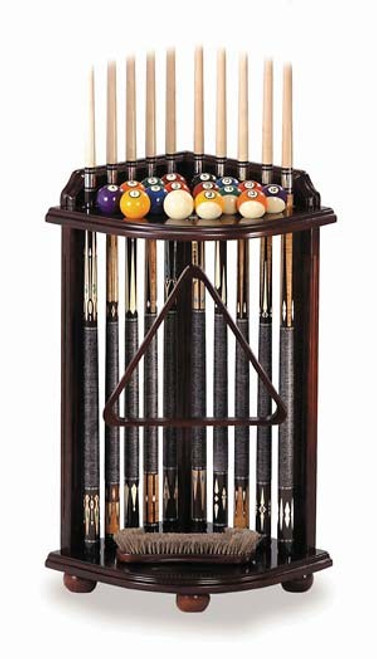 Corner Cue Stand. Holds 10 cues, full set of balls, brush tray, chalk tray, hook.