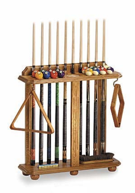 Floor Cue Pool Stand, holds 10 cues, cone chalk holder, cup holder, two hooks, holds full set of balls
