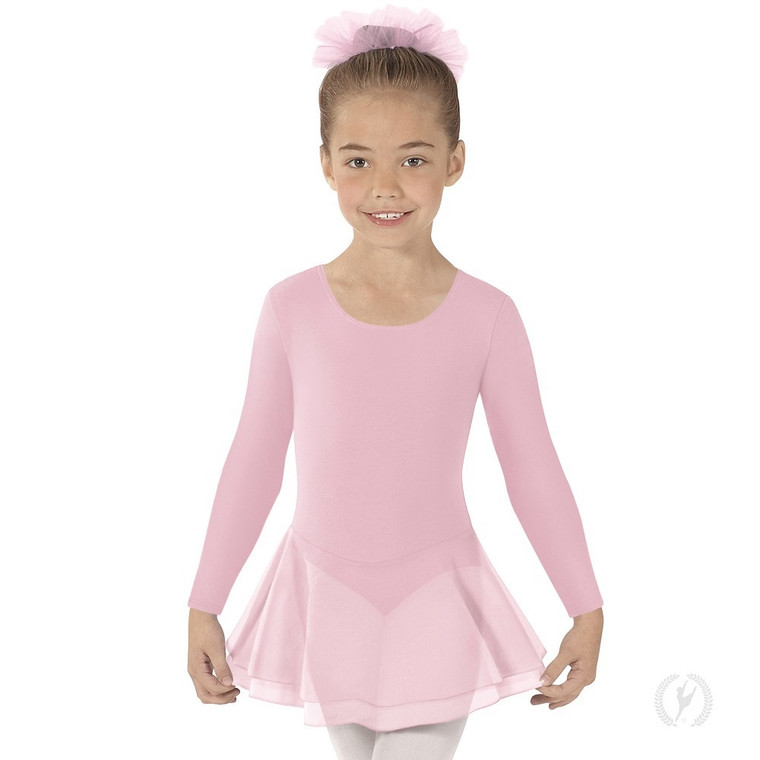 Eurotard 10465 Children's Cotton Long Sleeve Leotard with Attached Double Skirt