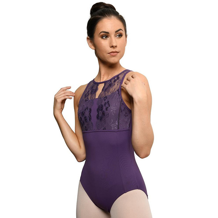 DanzNMotion19110A Tank Style Lace Leotard with Built-In Bra