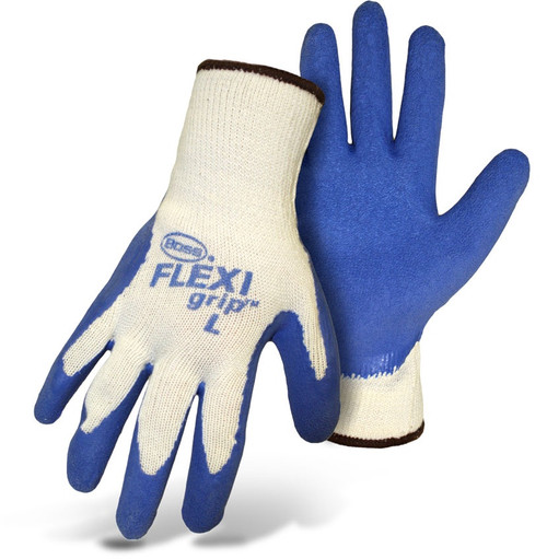 Boss Flexi Grip Blue Latex Palm String Knit Gloves