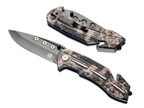 "Sona 31/2"" Spring Assisted Folding Drop Point Blade Knife with Clip"