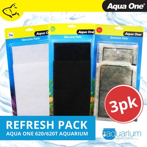 Aqua One AquaStyle 620/620T Refresh Pack inc 3s, 3w & 3c (3pk)