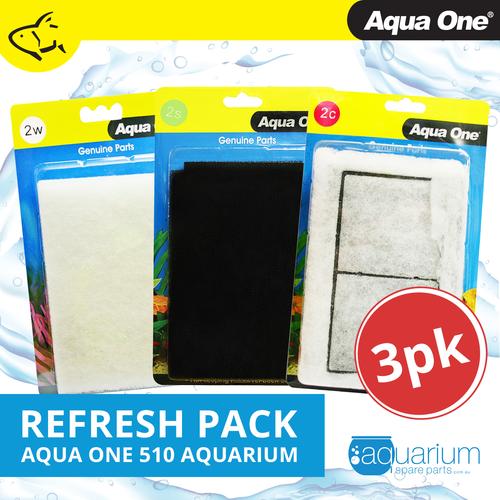 Aqua One AquaStyle 510 Refresh Pack inc 2w, 2s & 2c (3pk)