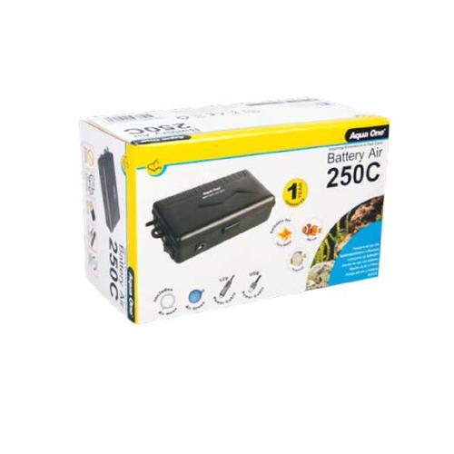 Aqua One Battery Air 250C Air Pump Portable 150L/H w/ Cigarette Lighter + USB Cable (10024)