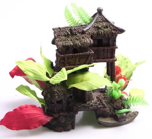 Aqua One Jungle House with Plants Ornament (36350)
