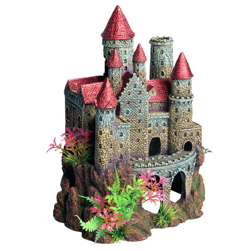 Aqua One Castle Red Roof With Plant Ornament (36894)