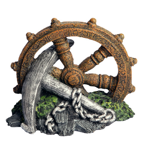 Aqua One Anchor with Ship Wheel Ornament (36917)