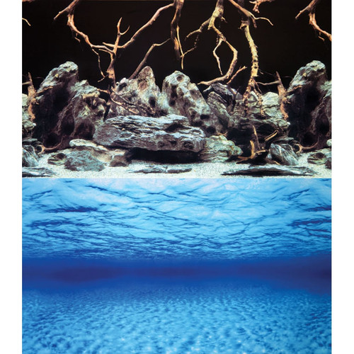 Aqua One Background Sea View/Rock & Wood Double Sided 60cm (Per Metre) (10517)