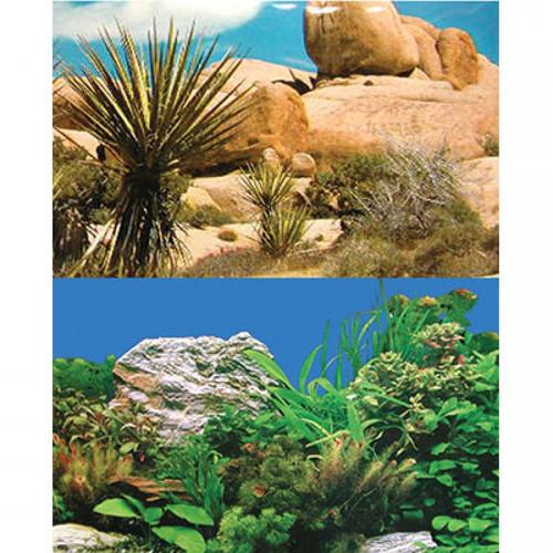 Aqua One Background White Stone & Plant/Rocky Greenery Double Sided 30cm (Per Metre) (10217)