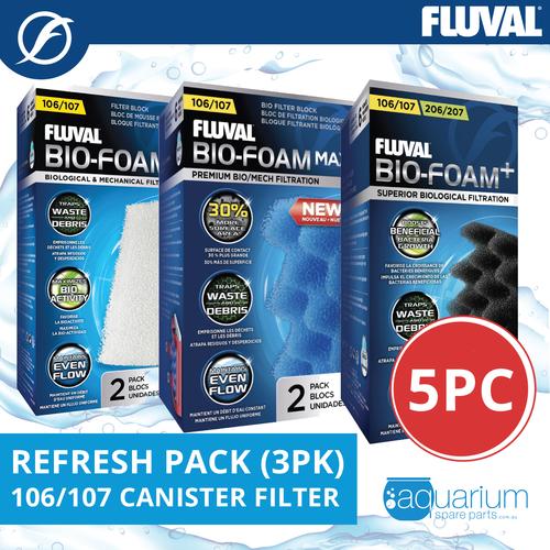 Fluval 106/107 Canister Filter Refresh Pack 3pk (5pc)