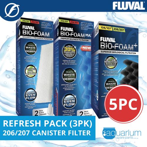 Fluval 206/207 Canister Filter Refresh Pack 3pk (5pc)