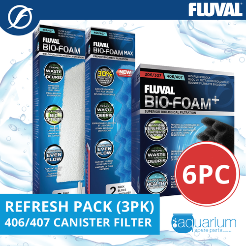 Fluval 406/407 Canister Filter Refresh Pack 3pk (6pc)