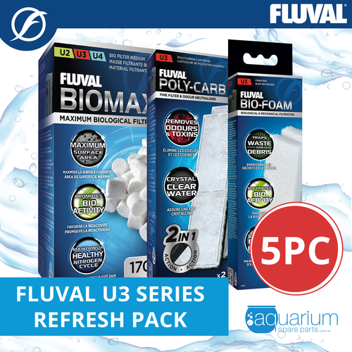 Fluval U3 Refresh Kit 3pk/5pc (includes BioMax, Carbon & Pad)