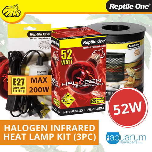 Reptile One Halogen Infrared Heat Lamp Kit 52W (3pc)