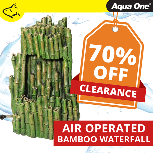Aqua One Air Operated Bamboo Waterfall w/ Moving Sand Ornament 14x13x21.5cm (36743)