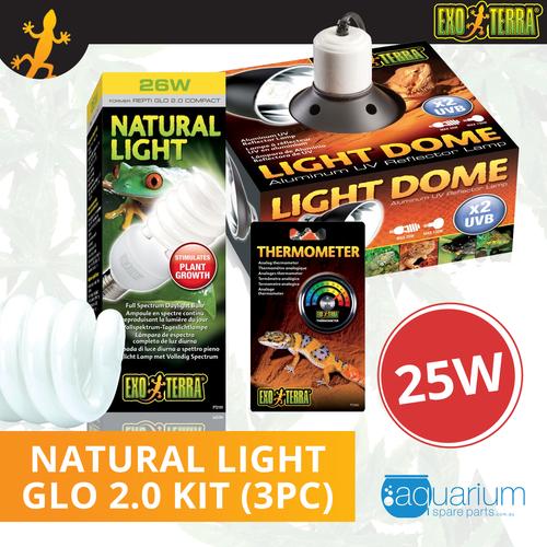Exo Terra Natural Light (Repti Glo 2.0 Compact Fluorescent) Kit 25W (3pc)