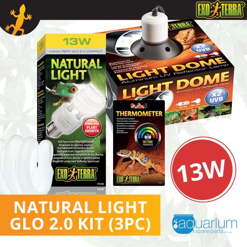 Exo Terra Natural Light (Repti Glo 2.0 Compact Fluorescent) Kit 13W (3pc)