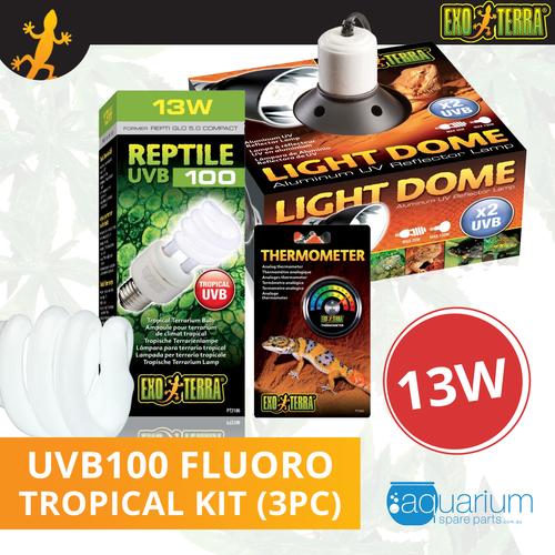 Exo Terra Reptile UVB 100 (Repti Glo 5.0 Compact Fluorescent) Kit 13W (3pc)