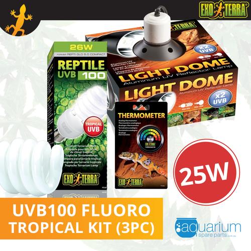 Exo Terra Reptile UVB 100 (Repti Glo 5.0 Compact Fluorescent) Kit 25W (3pc)