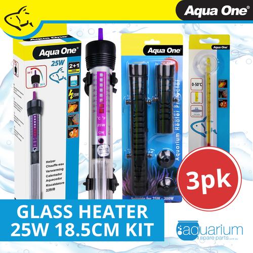Aqua One Glass Heater 25w 18.5cm Kit (3pk)
